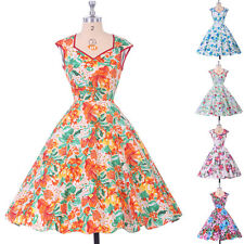Vintage Retro Style 1950s 60s Floral Causal Evening Party Tea Dress Swing Pinup
