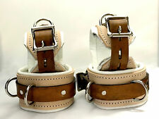 12 pc Padded Locking Leather set wrist ankle cuffs collar lockable Medical
