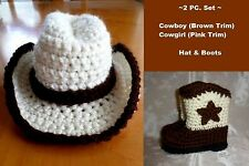 HANDMADE TO ORDER CUSTOM CROCHET BABY COWBOY/COWGIRL HAT & BOOT SET