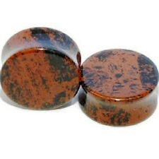 A Pair of Mahogany Obsidian NATURAL ORGANIC Stone Double Flared Ear Gauge Plug