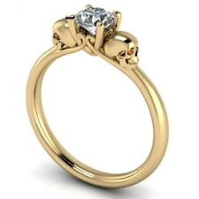 Double Skull Ring Natural Zircon Engagement Ring SolidWedding Rings