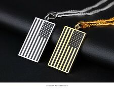 6pcs/lot American USA Flag Necklace Fashion Jewelry Stainless Steel Pendant