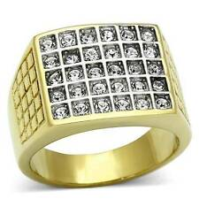 TK734PB 30STONE MENS SIGNET SQUARE RING  ROLLED GOLD 18KT SIMULATED DIAMOND