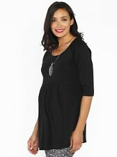 Lucy Maternity Half Sleeve Little Cotton Tunic Top - Black Ink