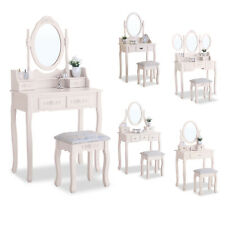 Ivory White  Dressing Table Set Makeup Table Desk Mirror and Stool Bedroom