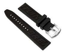 BREITLING Black 22mm & 24mm Silicone Rubber Diver Watch Band Replacement Strap