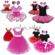 Girls Kid Cute Minnie Mouse Fancy Dress Costume Polka dot Child Outfit Halloween