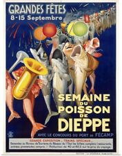 Poster Print Wall Art entitled Semaine du Poisson de Dieppe, Vintage Poster, by