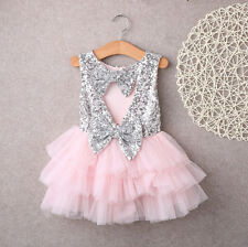 1st Birthday Outfit-Pink & Silver Sequin Holiday Dress-Flower Girl Sequin Dress