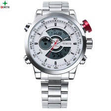 Mens Sports Watch Large Dial Fashion Style Male Quartz Steel Wrist Watch Genuine