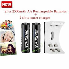 PALO 2X NI-MH AA 2500mAh Rechargeable Batteries +2 slots smart Battery charger S