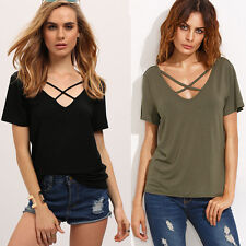 Fashion Womens Summer Loose Short Sleeve Cotton Casual Blouse Shirt Tops T-shirt