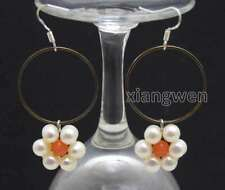 SALE Fashion white pearl and Pink Coral & Gold-color metal Ring Earring -ear612