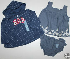 baby Gap NWT Girl's 0 3 6 12 Mo. 3 Pc Set  Empire Waist Zip Hoodie Tank Bloomers