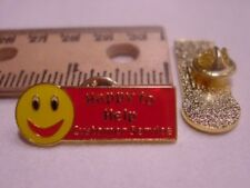 Happy to Help Smiley Face Customer Service Professional Lapel Pin w/red smile