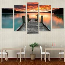 Lake Dock at Sunset Sky Panel Wall art on Canvas