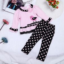 Toddler Baby Kids Girls Infant Polka Dots Top Long Sleeve Shirt+Pants Outfit Set