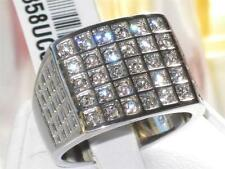 TK358PB  30STONE MENS SIGNET SQUARE RING  STAINLESS STEEL SIMULATED DIAMOND