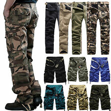 New Combat Mens Cotton Cargo ARMY Pants Military Camouflage Camo Trousers Shorts