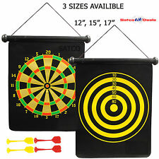 Magnetic Dartboard 4 Darts Party Game Double Side Playset Roll Up Kids Childrens