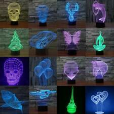 Bedroom 3D Illusion LED Night Light 7 Color Change Touch Table Lamp Desk Lamp