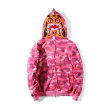 Unisex Tiger Head Design Bape Zipper Camo Hoodie Jacket A Bathing Ape Coat Pink