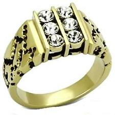 TK774 MENS SIGNET RING STAINLESS STEEL GOLD SIMULATED DIAMOND 6 STONE