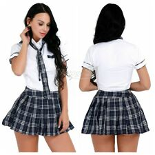 Women High Girls School Uniform Top Plaid Skirt Fancy Dress Costume Plus S-3XL
