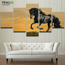 Animal Black Fine Horse Poster Prints Abstract Modern Canvas Wall Art Home Decor