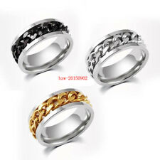 Silver/Black/Gold Rotatable Chain Stainless Steel Men's Wedding Band Sz7-12 Ring