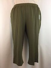 Catherines Womens Plus 1X 18/20 2X 22/24 Olive Suprema Stretch Capri Casual NWOT