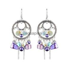 Drop Pierced Dangle Earrings Hook Lots Beads Colorful Shell Ornament Jewelry