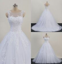 NEW White Ivory Bridal Wedding Dress Bridal Gown Custom Sleeveless Beaded Dress