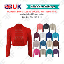 Women's Long Sleeve Bolero Knitted Shrug Ladies Crochet Open Front Cropped Top