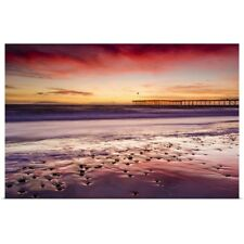 Poster Print Wall Art entitled Sunset over Channel Islands and Ventura Pier,