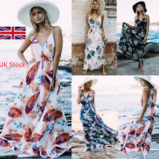 Women Boho V Neck Maxi Dress Floral Sleeveless Sundress Evening Beach Long Dress