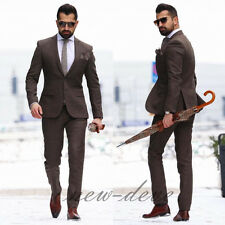 2017 Newest Brown Men's Suit 3Pc Groom Tuxedos Wedding Guest Party/Work Custom