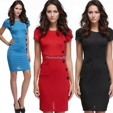New Vintage Design Bodycon Fitted Party Pencil Shift Sheath Button Dress C1MY
