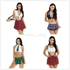 Naughty School Girl Plaid Mini Skirt Tie Fancy Costume Adult Halloween Cosplay