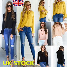 Autumn UK Women OL Flared Long Sleeve Work Shirt Ladies Tie Lace Up Blouse Tops