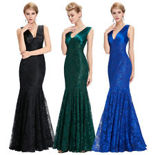 Fishtail Lace Long Ball Gown Prom Party Evening Formal Satin Maxi Wedding Dress