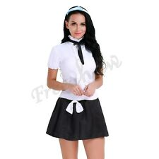 Womens School Girl Halloween Cosplay Uniform Sexy Mini Skirt Fancy Dress Costume