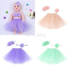 Newborn Baby Girls Tutu Skirt Wrapped Flower Headband Costume Outfit Photo Prop