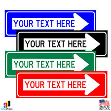 CUSTOM Personalized Your Text Here With Right Arrow Aluminum Parking Safety Sign