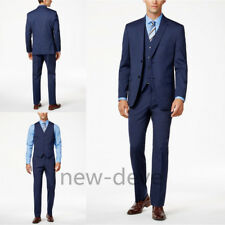 Fashion Men's Suit Blue 3 Piece Groom Tuxedos Wedding Guest Party Work Custom