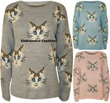 LADIES MULTI CAT FACE PRINT JUMPER WOMEN LONG SLEEVE KNITTED SWEATER JUMPERs TOP