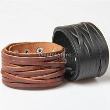 Women Men Wide Leather Cuff Bracelet Bangle Snap Button Braided Punk Jewelry