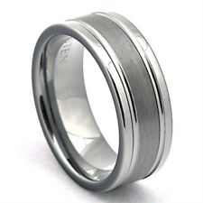 Tungsten Ring with Grooves Mens Wedding Band Brushed Silver Bridal Jewelry LWR
