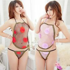 Hot Sexy Chinese 3D Flowers Twinkle Style Lingerie Silk Babydoll Dress Bellyband