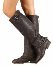 Breckelle Outlaw-11 New Women Leatherette Buckle Riding Knee High Brown Boot
